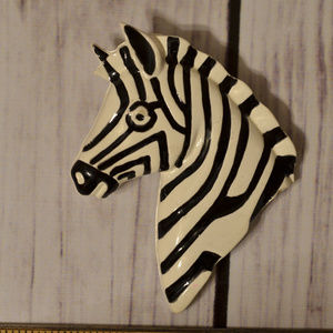 vintage zebra head enamel pin brooch larger size